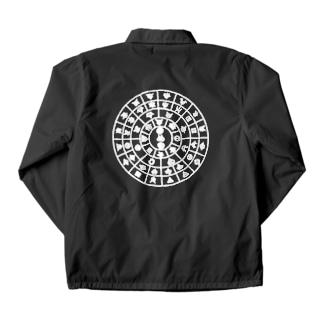 モトアケ(フトマニの図) 白ロゴ バックプリント背面デザイン Coach Jacket