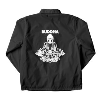 BUDDHA-仏像- 白ロゴ Coach Jacket