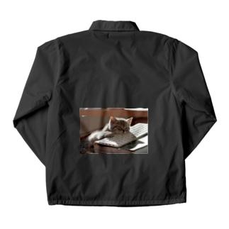 眠る猫 ねこ cat Coach Jacket