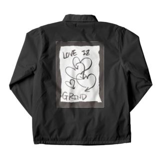 偽諺~壱~「ラヴイズグラインド」(黒縁) Coach Jacket