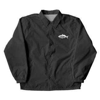 鯵釣る?White logo Coach Jacket