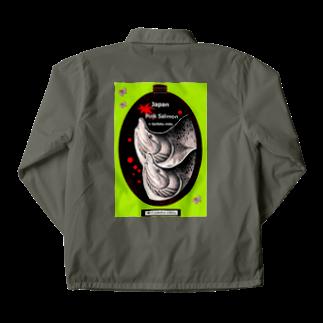 G-HERRING(鰊;鮭;公魚;Tenkara;SALMON)のカラフトマス!(樺太鱒;PINK SALMON)あらゆる生命たちへ感謝をささげます。 Coach Jacketの裏面