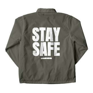 STAY SAFE IF YOU LOVE SOME ONE / ホワイトプリント バック Coach Jacket