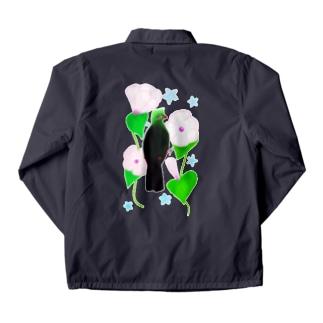 見返り美鳥(ギニアエボシドリ)と花② Coach Jacket