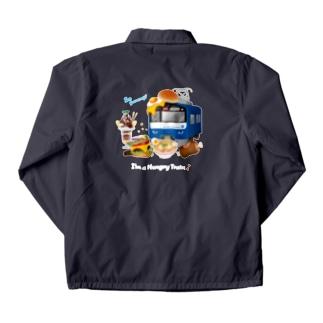 青い電車 「 お腹すいた ! 」 文字色 : 白 ver. Coach Jacket