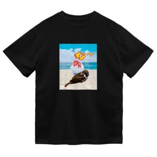 かき氷とスズメ Dry T-shirts