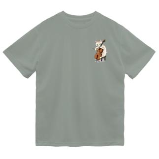 チェロを弾く猫 ドライTシャツ