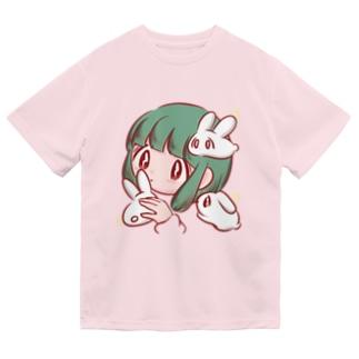 もちもちウサギに囲まれて Dry T-shirts