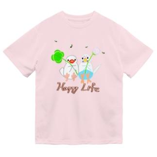 幸せ小鳥&シロツメクサ Dry T-Shirt