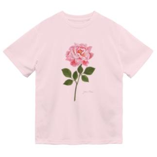 ピンクのバラ Pink Rose 01 Dry T-Shirt