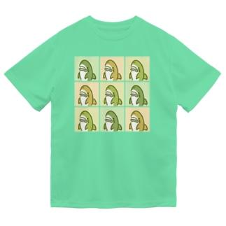 9匹のサメ緑 ドライTシャツ