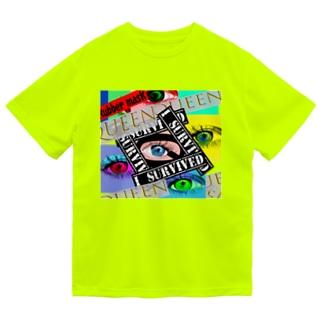 カラフルな瞳 張り合わせ  Dry T-Shirt
