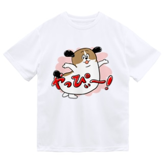 もじゃまるやっぴぃー! ピンク Dry T-shirts