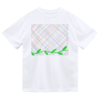 ほんわか優しいクロス模様Ⅱと葉っぱ Dry T-Shirt