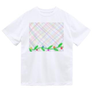 ほんわか優しいクロス模様Ⅱ 葉っぱと花 Dry T-Shirt