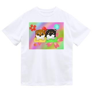柴犬ベビーず 和柄背景② ドライTシャツ