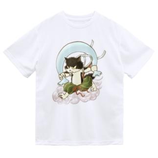風猫雷猫図屏風 Dry T-shirts