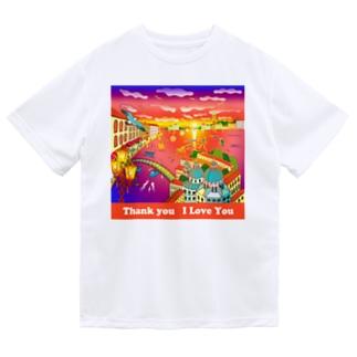 水の都と夕焼け Dry T-Shirt
