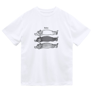 猫が三匹ごろ寝 Dry T-shirts