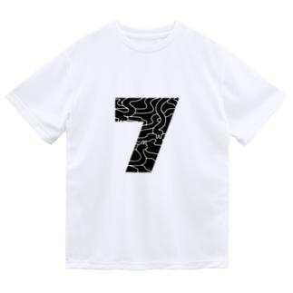 7のうさぎ/黒 ドライTシャツ
