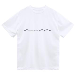 クロオオアリの行列 ドライTシャツ