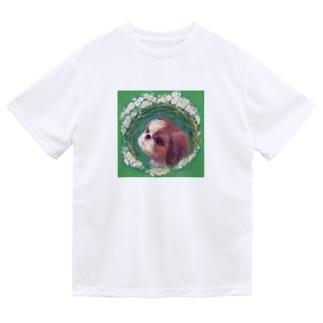 かわいいシーズー 犬と雪柳のフラワーリース ドライTシャツ