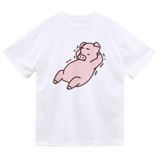 腹筋をするブタ(カラー) Dry T-Shirt