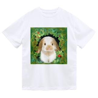 野に咲く木苺とかわいい耳たれ子うさぎ ドライTシャツ