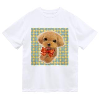 にっこり笑ったトイプードルとチェック柄のパターン ドライTシャツ