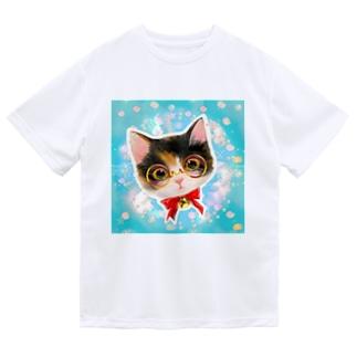 おしゃれなメガネをかけたミケ猫たちの夢かわいいイラスト ドライTシャツ