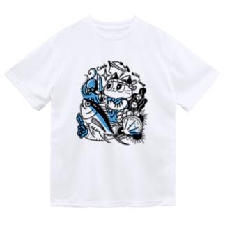 海の幸を料理する猫 Dry T-shirts