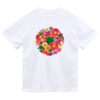 Love Turtle Flower Circle ドライTシャツ