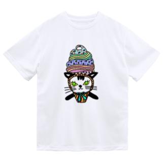 ソフトクリーム白黒ネコ Dry T-Shirt