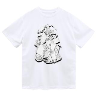 オウムの破壊活動モノクロ ドライTシャツ