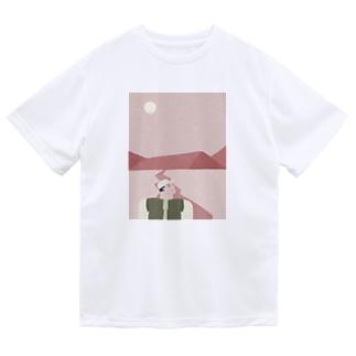 ピンクのおやまに Dry T-shirts