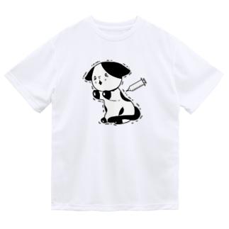 注射が怖い猫 ドライTシャツ