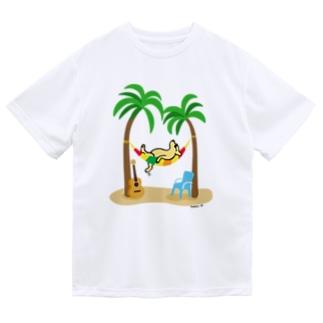 Happy Labradorsのヤシの木の下でお昼寝するイエローラブラドール Dry T-Shirt