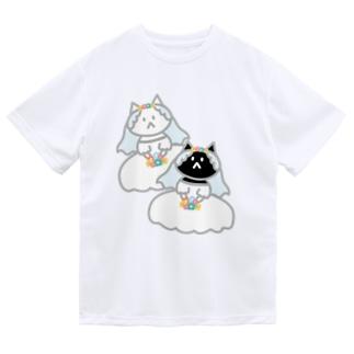 シロクロニャンコニャンコ Dry T-shirts
