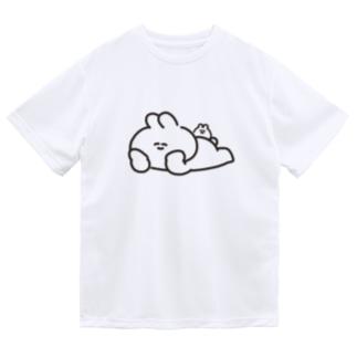 寝そべりうさちゃんハムちゃん Dry T-shirts