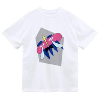 謎のおじさん(ドット背景) Dry T-Shirt