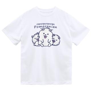 らんらんらんらんポメラニアン*L配置 Dry T-shirts