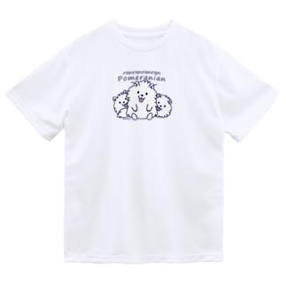 らんらんらんらんポメラニアン*M配置 Dry T-shirts