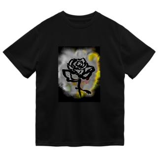 紅空月(kouzuki)-designの和筆薔薇_yellow Dry T-Shirt