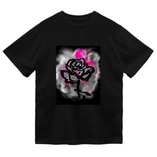 紅空月(kouzuki)-designの和筆薔薇_pink Dry T-Shirt