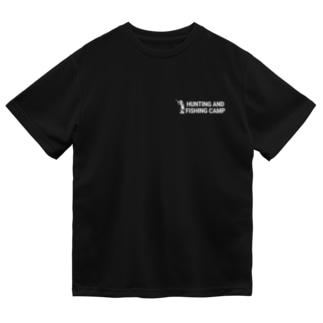 Hunting and Fishing Camp ロゴ白 Dry T-shirts