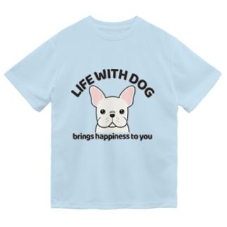 犬と共に(フレンチブル/白)  Dry T-Shirt