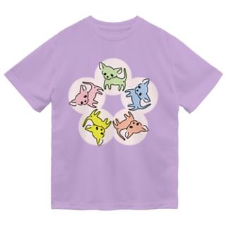 ゆるチワワ(フラワーサークル) Dry T-shirts