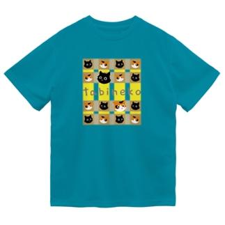 たびねこ -かおチェック Dry T-shirts