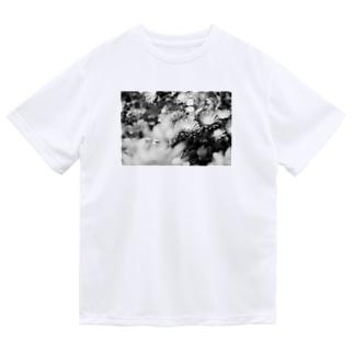 モノクロフラワー(キク) Dry T-Shirt