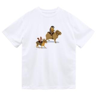 乗カピバラするマーモットと乗マーラするリス Dry T-Shirt